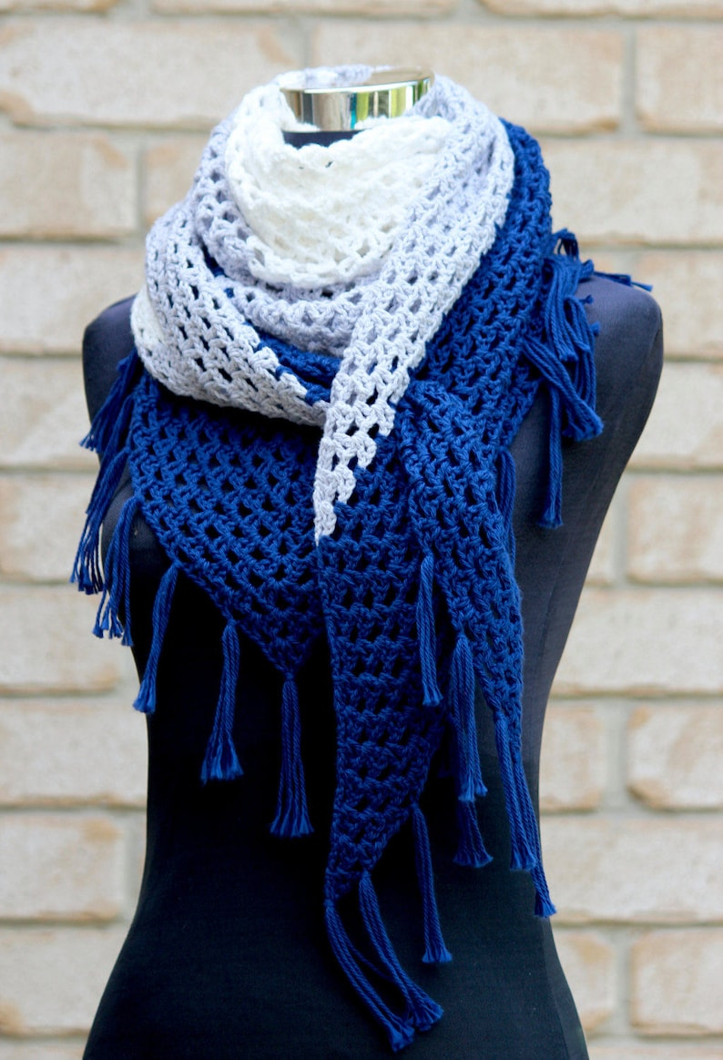 Crochet Pattern  UK terms. Almost a Granny Triangle Scarf image 0