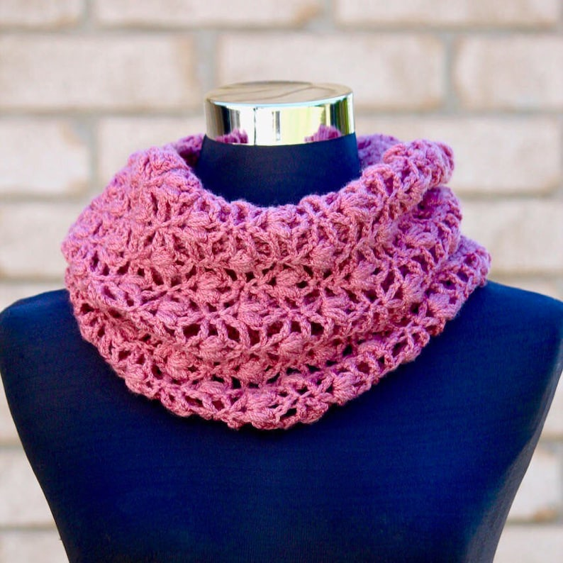 Crochet Pattern Set of 3. Path of Petals Infinity Scarf Cowl image 0