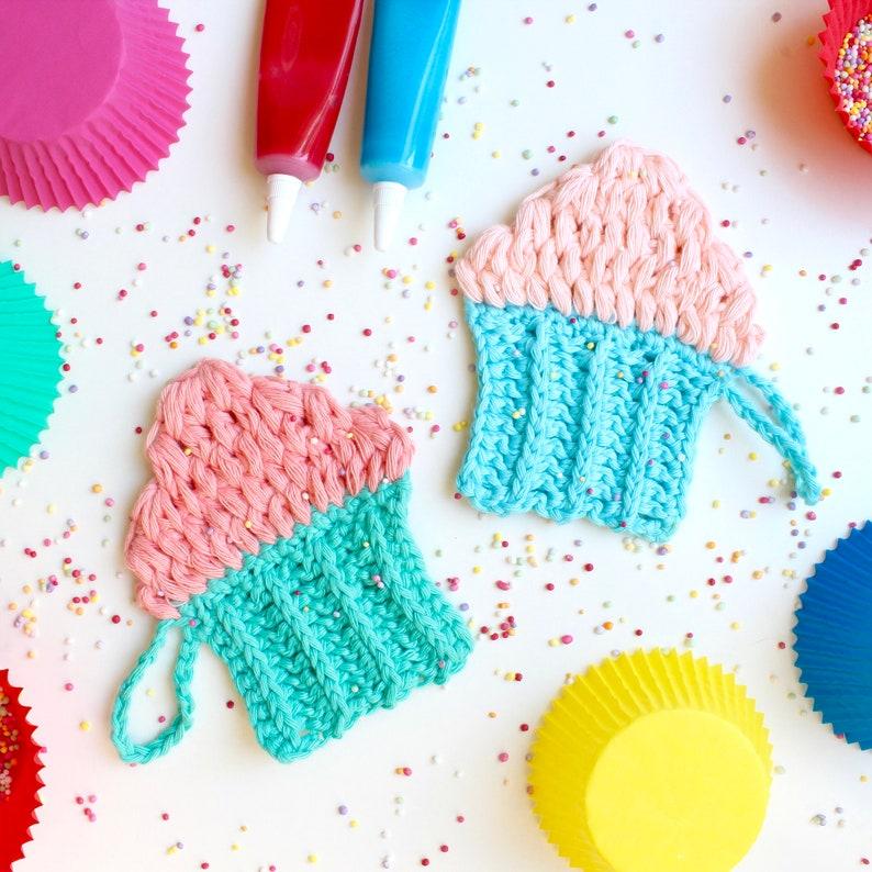 Crochet Pattern. Cupcake Face Scrubby. Instant digital image 0