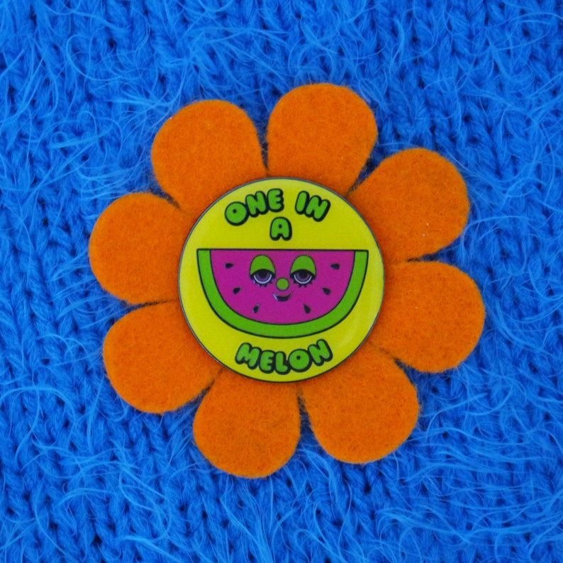 One in a Melon watermelon enamel pin with reversible flower image 0