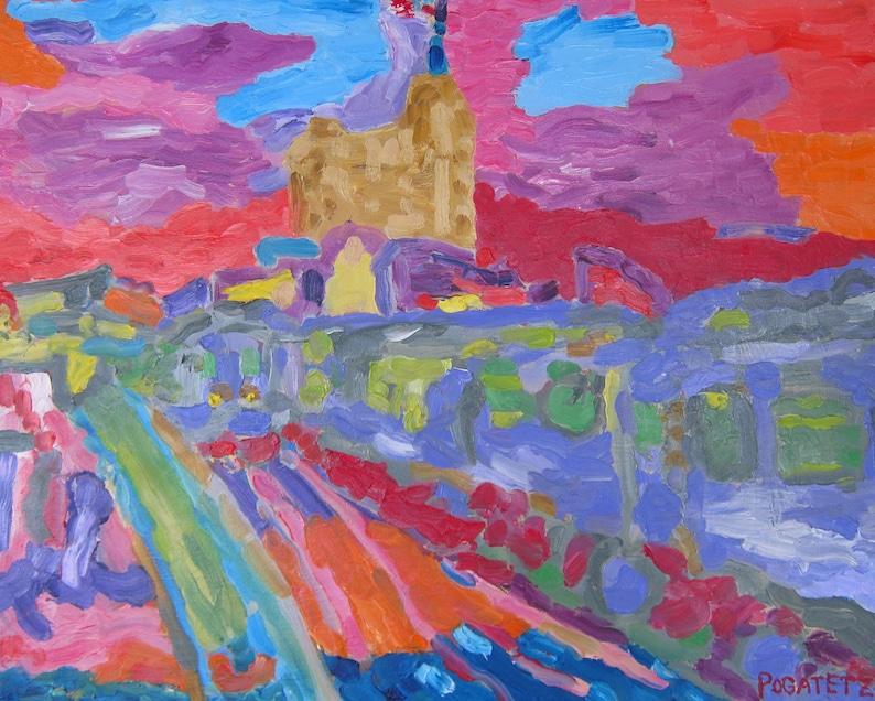 Damen el: Original oil on canvas Chicago cityscape image 0