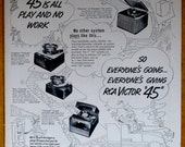 Vintage 1951 RCA Victor 45 Record Player Print Ad - quot 45 Is All Play and No Work quot - vintage magazine ad frameable