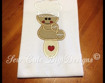 Christmas Cookie Baking Gingerbread sitting on a wooden spoon Applique Design