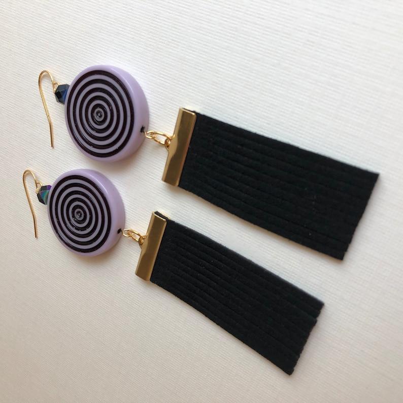Lilac Vintage Lucite Circles with Wide Black Fringe /& Gold