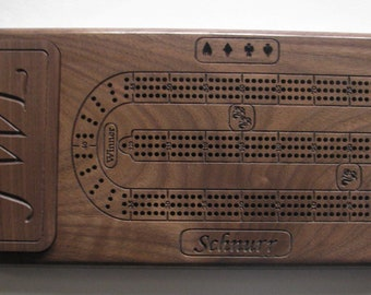 Personalized Wood Cribbage Board Walnut Wood Crib Board