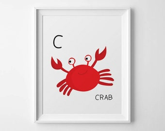 """Nursery art - """"C is for Crab"""" - Downloadable PDF File- size 8"""" x 10"""". Instant Download"""