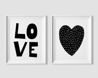 Valentines decor, printable wall art, love printable set, valentines gift ideas, typographic print, digital art, black and white art
