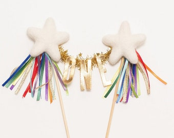 CLASSIC BRIGHT RAINBOW / needle felt star cake topper  // customize your cake topper with your little one's name or age!