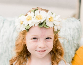 DAISY CHAIN CROWN // full felt flower crown headband // felt flower accessories for a whimsical childhood