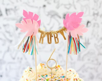 Pink Party Animal // JUNGLE LEAVES cake topper // Customize your cake topper with your little one's name or age!