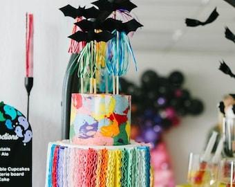 RAINBOO BATS // color block bat cake toppers