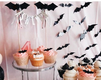BATS // needle-felt bat cake topper  // customize your cake topper with your little one's name or age!
