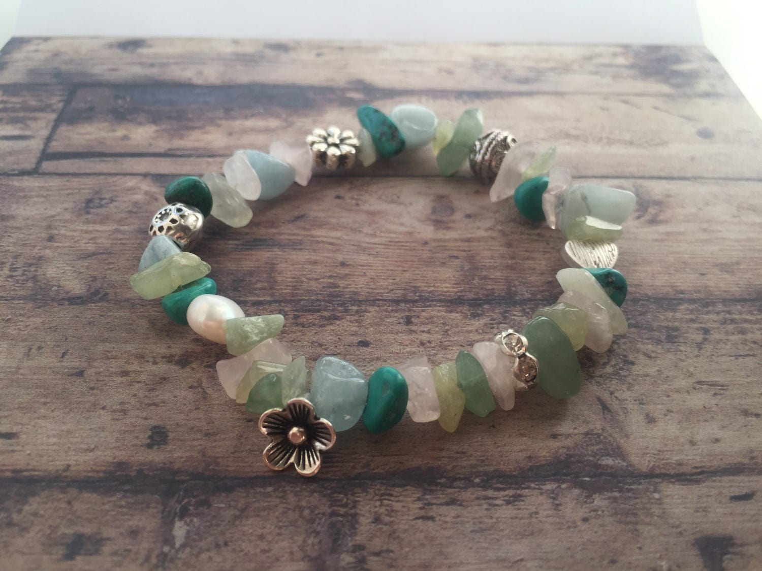 Bracelet With Beads Of Different Types Of Semi Precious Stones And