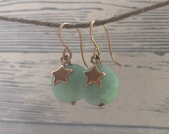 Pink gold-filled earrings with amazonite and asterisks