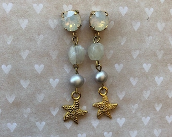 Gilded earrings with Swarovski, rough moon stones, freshwater pearls and starry