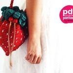 PDF PATTERN : Strawberry bag crochet pattern - fruit purse crochet pattern - handbag crochet tutorial - crochet accessories patterns