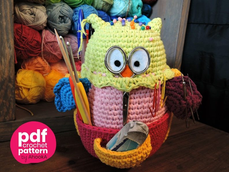 PDF PATTERN : Owlivia the crochet Owlganizer amigurumi image 0
