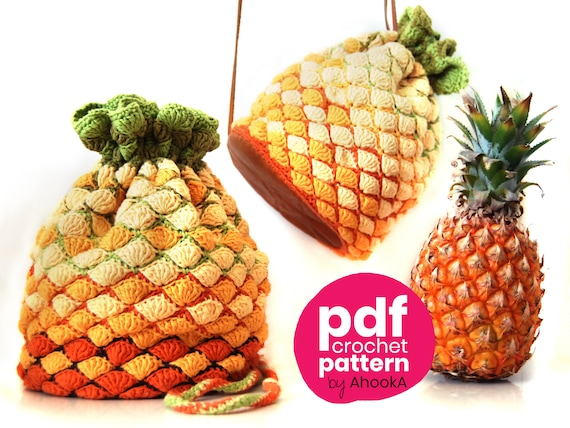 Dice Pouch Crochet Pineapple Pouch Crochet Food Crochet Food Eco Friendly Cotton Small Drawstring Bag Tropical Fruit