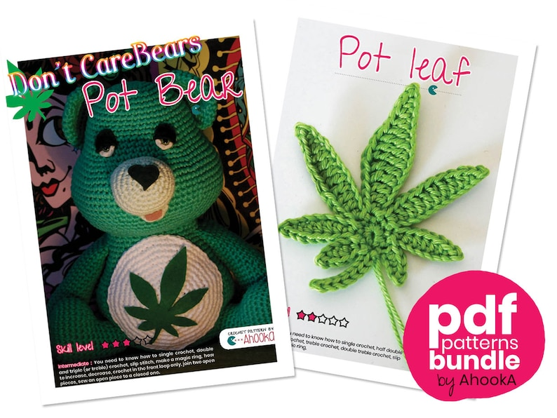 PDF pattern : Don't Care Bear amigurumi plush  marijuana image 0