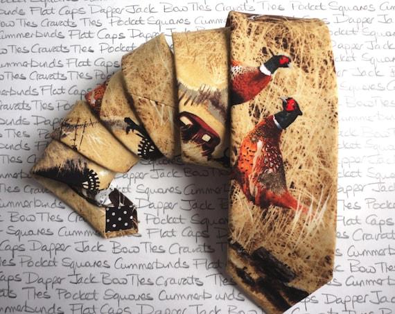 Neck tie, ties for men, pheasant print tie, shooting tie,