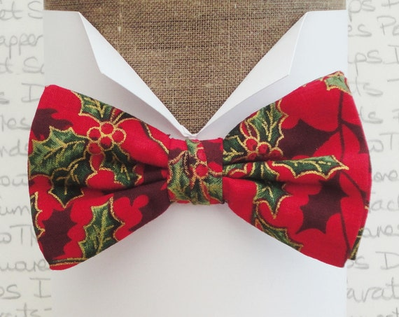 Holly bow tie, Christmas bow tie, holly on a red background pre tied bow tie, bow ties for men