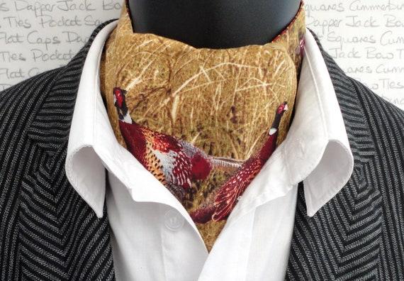 Pheasant Print Cravat, Ascots, Reversible Cravat, Paisley Cravat, Paisley Ascot