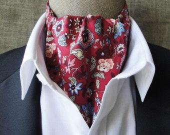 Cravat, floral design on a burgundy background.  One size fits all.