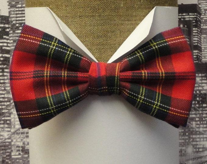 Red tartan pre tied or sself tie bow tie, Burns night bow tie