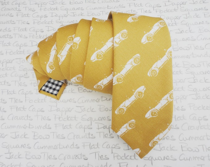 Sports car print neck tie, mustard or gold cotton neck tie, skinny tie, slim tie, standard width tie