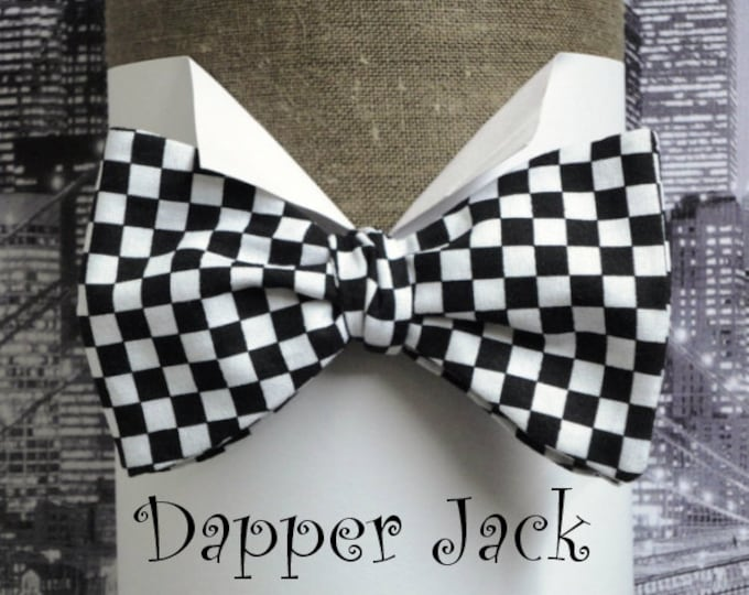 Bow Tie, Self Tie or Pre Tied Bow Tie, Chequered Flag Bow TIe