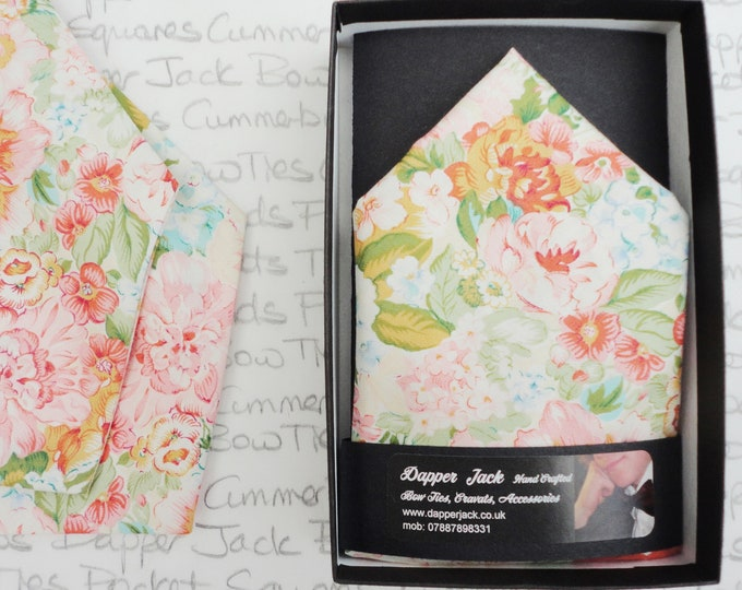 Pocket square, pink and peach floral pocket square