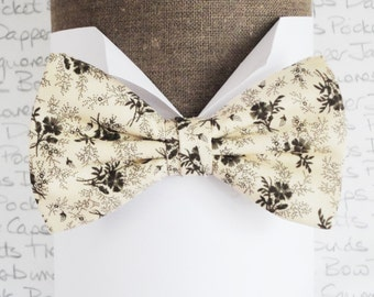 Bow ties for men, floral bow tie, men's bow tie black flowers on a cream background