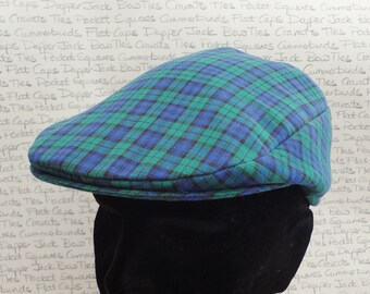 Flat caps for men, flat cap in a green and blue check cotton fabric
