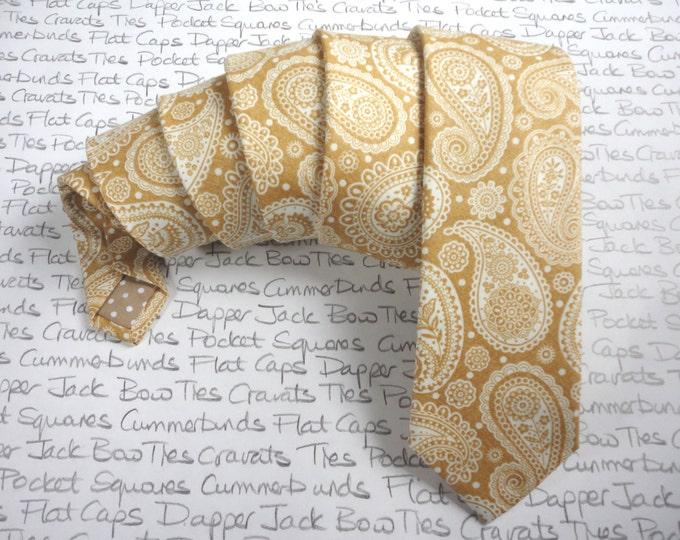 Ties for men, classy gold paisley print slim neck tie, paisley tie, wedding tie