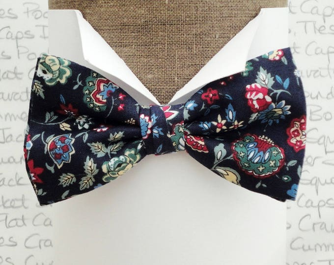 Floral bow tie, bow ties for men, burgundy, blue and green floral design on a navy background