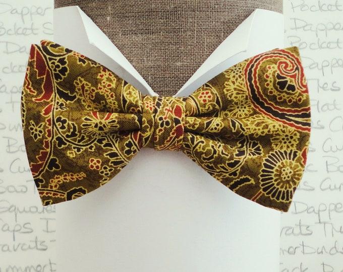 Paisley bow tie, gold paisley bow tie, pre tied or self tie bow tie