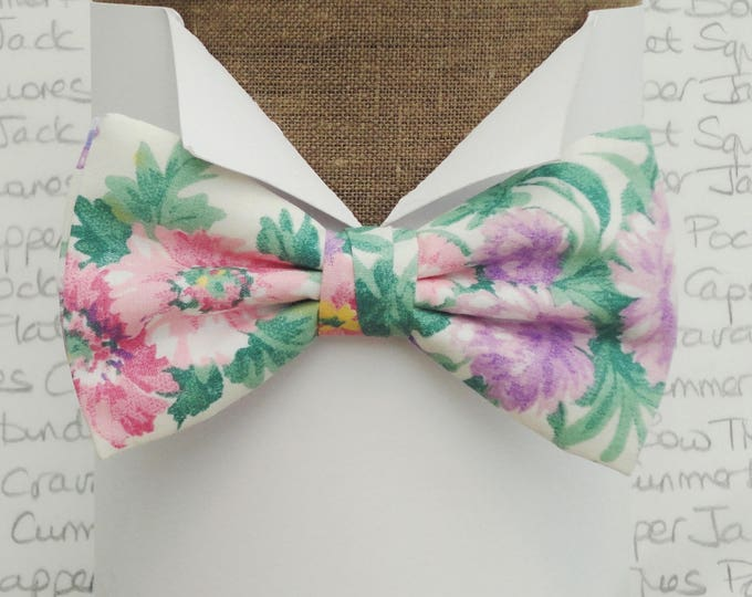Bow ties for men, pink and lilac floral bow tie, pre tied bow tie