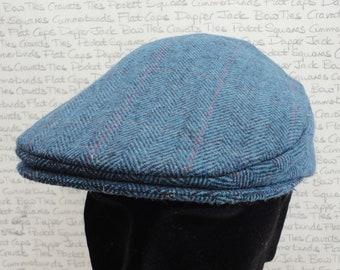 Flat cap for men or ladies, blue herringbone flat cap