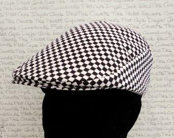 Chequered Flat Cap, Driving Hat, Racing Drivers Flat Cap