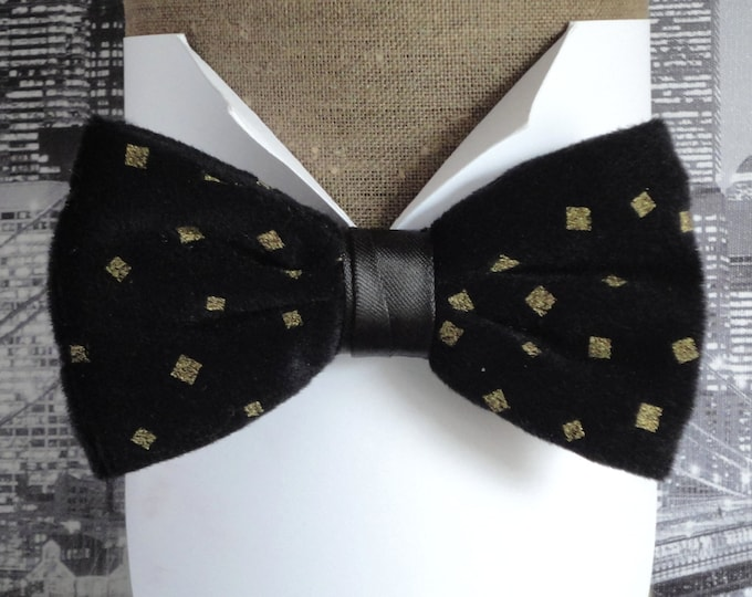 Bow Tie, Gold Print on Black Velvet, Pre Tied Bow TIe, Bow Ties For Men