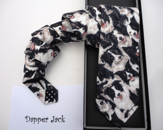 Collie dog print tie, Sheep Dog tie, ties for men, men's ties