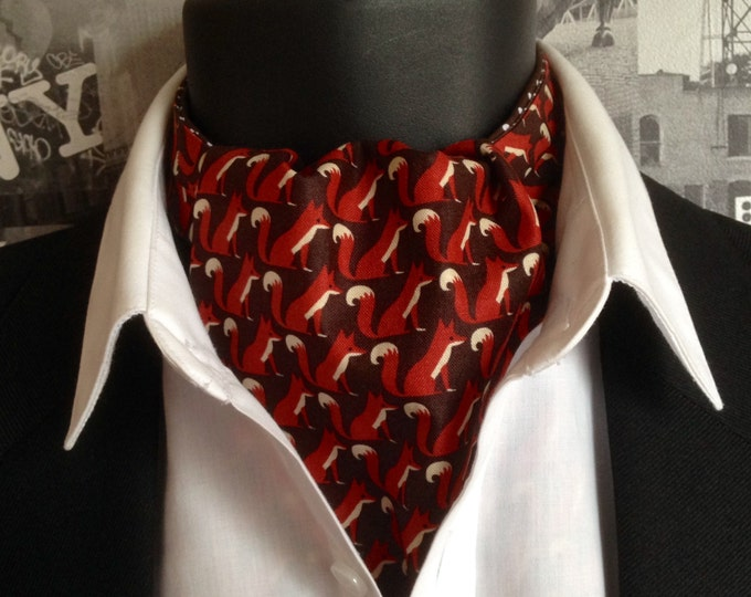 Cravat, Foxes Print Cravat, Brown and White Spot Cravat, Reversible Cravat
