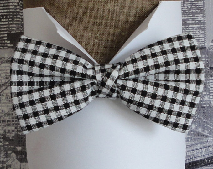 Bow Tie, Bow Ties For Men, Black and White Gingham Bow TIe, pre tied or self tie bow tie