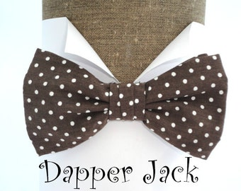Bow Ties. Men's Bow Ties. Bow Ties For Men. Brown and white spot pre tied cotton bow tie on an adjustable neck band.