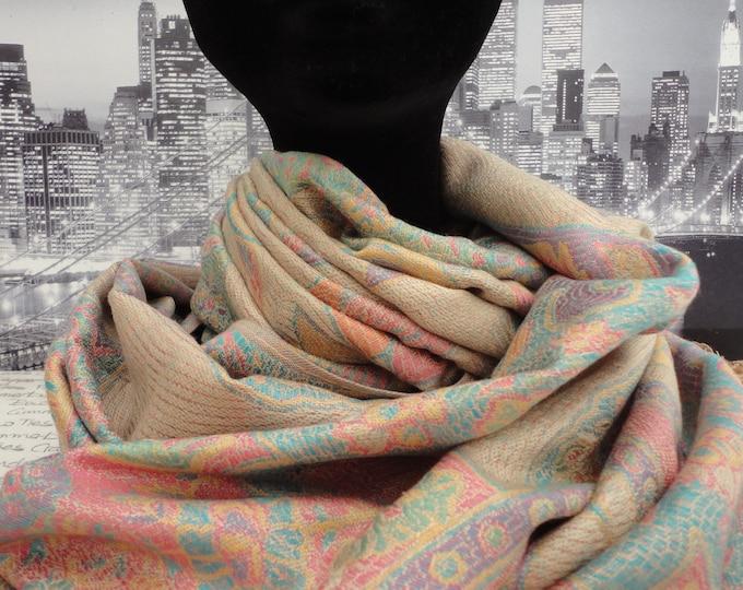 Beige and pastel coloured scarf, wrap, shawl, pashmina