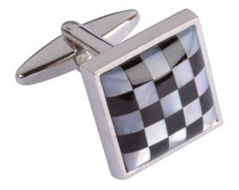 Mother of Pearl Chequered Cufflinks