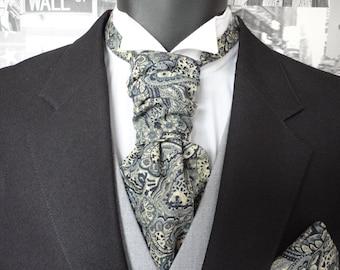 Scrunchy Wedding Cravat, Pre-Tied Wedding Cravat, Blue Paisley Cravat , Floral Cravat