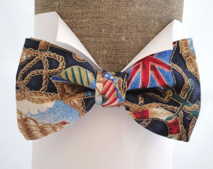 Sailor Print Bow Tie,  Bow Ties For Men.  Nautical print pre tied or self tie bow tie in 100% cotton with adjustable neck band.