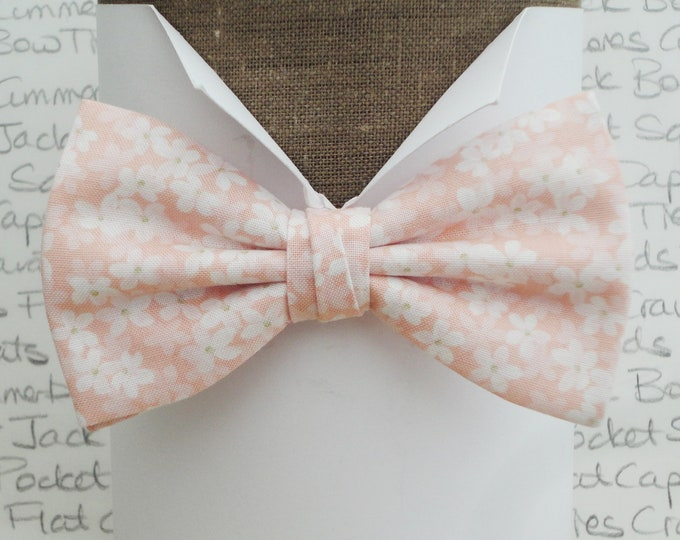 Bow tie, bow ties for men, blush peachy pink floral bow tie