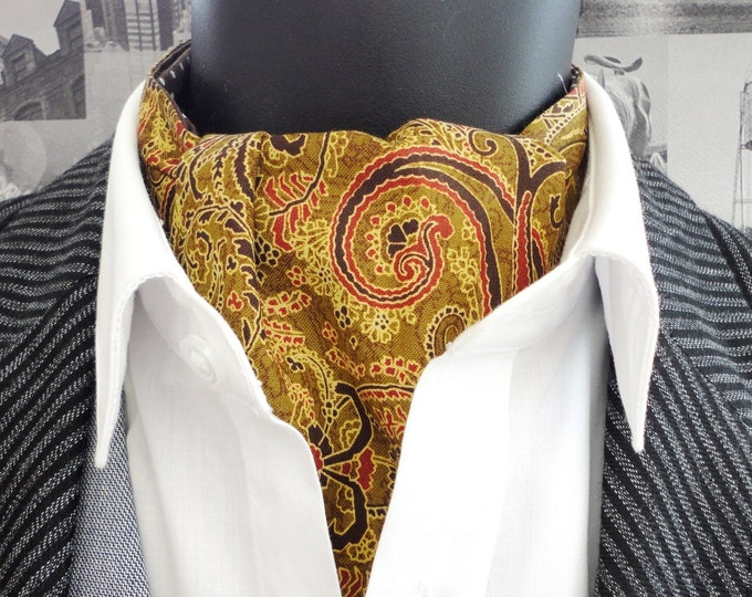 Reversible Paisley Cravat, mustard paisley cravat, brown with white spots on reverse side.